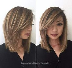 Layered straight medium length asian hair side swept bangs fun and from shoulder length hair cut straight, source: 100 Most Pinned Beautiful Medium Hair Style Cute Medium Length Haircuts, Medium Hair Cuts, Short Hair Cuts, Medium Hair Styles, Short Hair Styles, Layered Haircuts, Medium Length Hair With Layers And Side Bangs, Trendy Haircuts, Shoulder Length Hair Cuts Straight