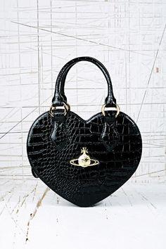 vivienne westwood  / black crocodile heart bag / so in love