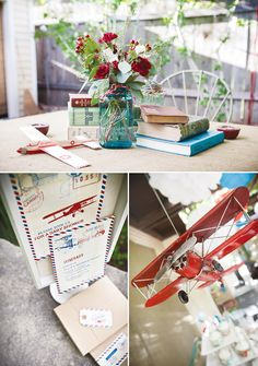 Graduation party centerpieces..books! Great idea since he loves to read. Add apples to vases, candles...