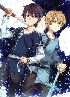 abec, Sword Art Online, Eugeo and Kirigaya Kazuto (Kirito). Sword Art Online Kirito, Kirito Sword, Anime Expo, Art Anime, Anime Manga, Sword Art Online Wallpaper, Naruto, Dark Drawings, Art En Ligne