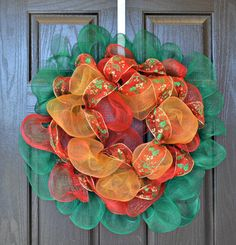Traditional colored Christmas Deco Mesh Wreath by WelcomeHomeWreath, $50.00