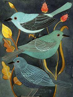 Three Little Birds - Geninne D. Zlatkis (water & acrylic on paper)