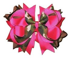New 'HOT PINK CAMO' Grosgrain Hairbow Alligator Clips Girls Ribbon Bows 5 Inches Boutique Camoflauge Duck Hunting Fishing ** You can find out more details at the link of the image.