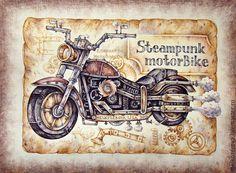 Купить или заказать Картина в раме 'Стимпанк-байк' мотоцикл коричневый рок в… Vintage Prints, Vintage Posters, Steampunk Drawing, Steampunk Crafts, Graphic 45, Art Journal Pages, Paper Decorations, Scrapbooking Layouts, Vintage Images