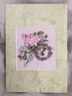 Embroidered picture-greeting card,silk ribbon embroidery,Easter-gift