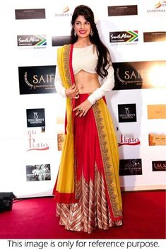 Bollywood celebrities have given a new dimension to the Indian Lehenga giving a whole new range of variety to shoppers. Lehenga worn by Bollywood celebrities have became the latest trend setters for s. Indian Lehenga, Bollywood Lehenga, Bollywood Fashion, Bollywood Celebrities, Bollywood Style, Yellow Lehenga, Silk Lehenga, Sari, Jacket Lehenga