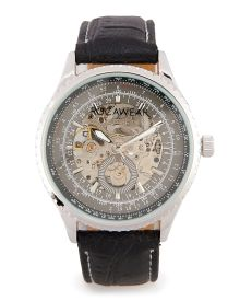 Men's Mechanical Skeleton Round Leather Strap Watch - Add a touch of refinement to your accessory style with this Rocawear watch. Features a masculine round case with a skeleton center and a croc-embossed leather strap with contrast stitching. The mechanical display will add an old-world touch to any contemporary look.