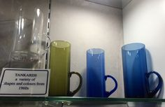 Caithness Glass tankards, no. 4004 in Flint, Moss Green and Loch Blue Caithness Glass, Heritage Museum, Blue Design, Colours, Shapes, Mugs, Tableware, Green, Dinnerware