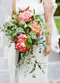 Amazing peony and greenery bouquet {Photo by Lane Dittoe via Project Wedding}: Big Coral Wedding Flowers, Peony Bouquet Wedding, Rustic Wedding Flowers, Floral Wedding, Peonies Bouquet, Flower Bouquets, Bridal Bouquets, Purple Bouquets, Small Bouquet