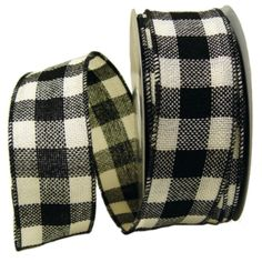 """Faux Burlap Ribbon 2.5"""" x 25 yards Color: Black and Cream Check Material: 100% Polyester Wire Edge"""
