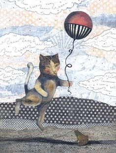 "Clearance 8x10"" Art Print, Cat Art Print , Acrylic Painting , Mixed Media Painting , Balloon Painting Reproduction ,"