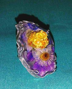 Кольцо из уф смолы с серебром