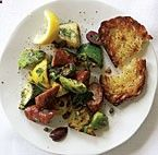 Grilled Sausage with Summer Squash, Fresh Herbs  Olives