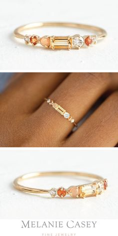 A baguette cut topaz is accented by white diamonds, orange sapphires, and a peach moonstone, set in yellow gold. Find this unique stacking ring at ! 14 Carat, Topas, Star Necklace, Necklace Set, Schmuck Design, Wedding Jewelry, Gold Wedding, Wedding Rings, Ring Designs