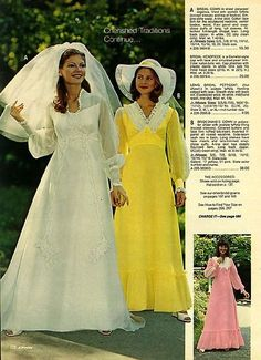 1976 J. When bridal dresses had sleeves and, you know, tops. Vintage Wedding Photos, Vintage Bridal, Vintage Weddings, Vintage Dresses, Vintage Outfits, Vintage Fashion, 70s Fashion, Fashion Dresses, 1970s Wedding Dress