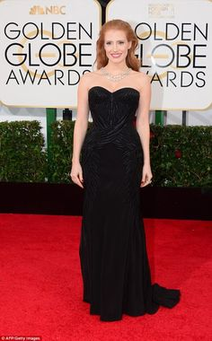 Jessica Chastain at the Golden Globes | Discover 7 Ways to Wear Black Like a Fashionista