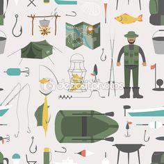 Fishing seamless pattern. Fishing design elements — Stock Illustration #68781741