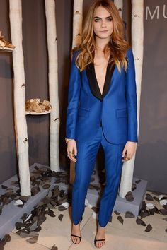 super cute blue pantsuit. women's fashion and style.  electric blue tux. menswear inspired looks.