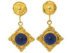 Jean Mahie Lapis and Diamond Earrings in 22K