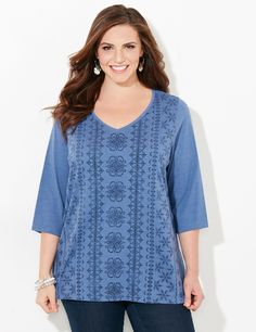 Subtle Snowflake Tee | Catherines  Add subtle holiday flair to your wardrobe with our lovely tee in a snowflake design. Soft knit fabric keeps you comfortable all day long. V-neckline. Elbow-length sleeves. Solid back. Catherines tops are perfectly proportioned for the plus size woman. #catherines #catherinesplus #plussize #plussizefashion #snowflake