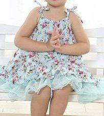 Light Blue Flower Twirl Dress for Girls and Toddlers Spring Summer Easter Sun Dress by MJfordiva