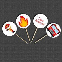 4 Décorations de Gâteau / Toppers pour Anniversaire POMPIER : Cuisine et service de table par creerpourvous