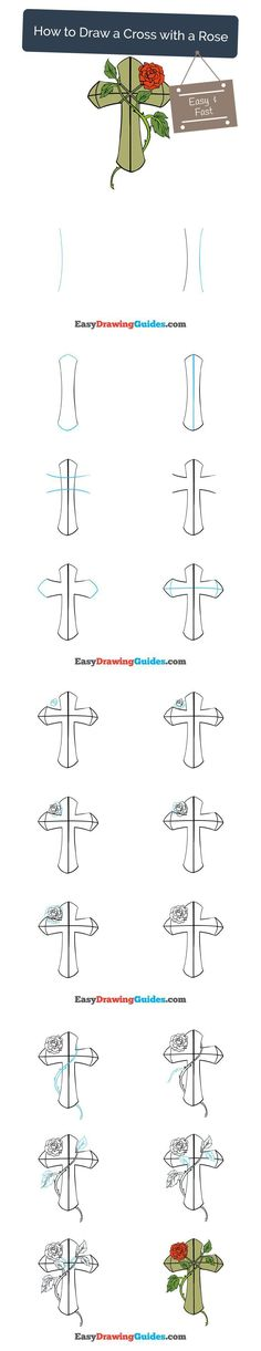 Learn How to Draw a Cross with a Rose: Easy Step-by-Step Drawing Tutorial for Kids and Beginners. #cross #rose #drawing #tutorial. See the full tutorial at https://easydrawingguides.com/draw-cross-rose/