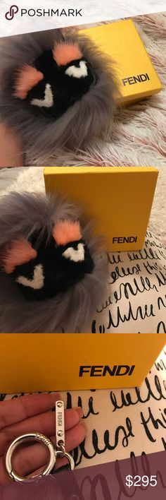 "FENDI Fur Monster 💛 NEW This cute guy needs a new loving home! Brand new, comes with box. Gray with black face and baby pink eyebrows. He was a lot larger than I expected to wear as a bag charm or keychain (my personal preference), so Im letting this piece go. Measures approximately 6"" in diameter with an approximate 4"" drop. More photos available upon request. Since I was gifted this item, I priced it reasonably 💛 Offers welcome. Fendi Accessories"