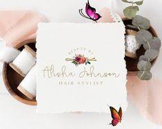 Hair Logo, Bobby Pin Logo, Hairstylist Logo, Beauty Logo, Hair Salon Logo, Floral Logo, Beauty Log Hair Salon Logos, Floral Logo, Pin Logo, Beauty Logo, Bobby Pins, Salons, Stylists, Logo Design, Place Card Holders