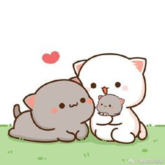 Cute Love Pictures, Cute Cartoon Pictures, Cute Love Gif, Cute Couple Cartoon, Cute Love Cartoons, Cute Bear Drawings, Kawaii Drawings, Chibi Cat, Cute Chibi