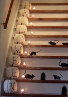 halloween stair pumpkins