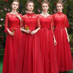 Affordable Elegant Grey Lace Bridesmaid Dresses 2019 A-Line / Princess Sash Short Ruffle Backless Wedding Party Dresses Bridesmaid Dresses 2017, Red Bridesmaids, Bridesmaid Dresses With Sleeves, Maternity Fashion Dresses, African Lace Dresses, Backless Wedding, Wedding Party Dresses, Color Red, Scoop Neck