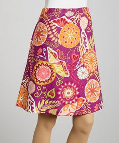 Gorgeous graphic fabric is the star of this simple yet simply stunning cotton skirt. It features an elastic waistband and an A-line cut for easy elegance.