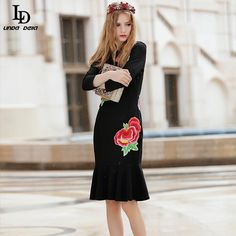 Elegant 3/4 Sleeve Flower Embroidery Party Wear Sexy Elegant Black Mermaid Dresses Bodycon $82.16   => Save up to 60% and Free Shipping => Order Now! #fashion #woman #shop #diy  http://www.clothesdeals.net/product/ld-linda-della-runway-brand-women-elegant-34-sleeve-flower-embroidery-party-wear-sexy-elegant-black-mermaid-dresses-bodycon