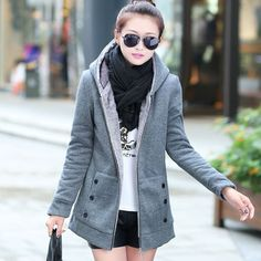 Thick Velvet Sweater Hooded Jacket Coat |Women Coats - Clothing & Apparel - ByGoods.com