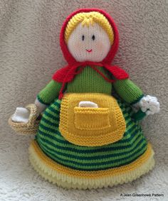 This is cheery Red Riding Hood, off to visit her poorly Grandma. Grandma is in for a treat as Miss Hood is bringing her flowers, a get well card and a basket of yummy treats to help her get better. Designed by Jean Greenhowe she is one character of a 4-way topsy turvy doll that was a lot of fun to knit.