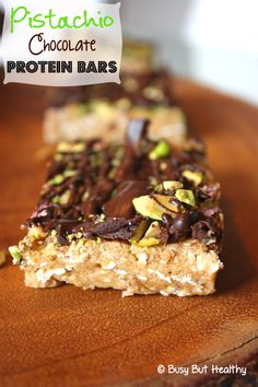 Pistachio Chocolate Protein Bars - Healthy homemade protein bars made with pantry staples, no-bake and gluten-free!