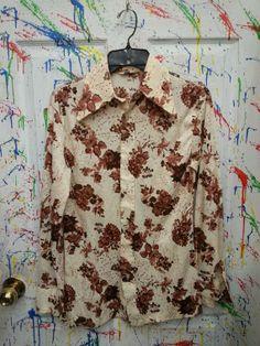 Vintage men's long sleeve polyester pimp nylon disco button down size Small Medium Tan Brown Floral Print 1970s Spiegel by RagsAGoGo, $25.00