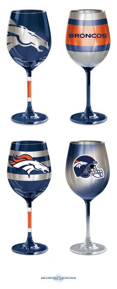 Cheering on your Denver Broncos never looked so stunning! This collection of officially-licensed wine glasses is crafted in the finest European tradition and sports team logos, team colors and metallic finishes. Arrive in sets of Broncos Gear, Nfl Broncos, Denver Broncos Football, Broncos Colors, Nfl Team Colors, Bronco Sports, Team Games, Football Season, Glass Collection