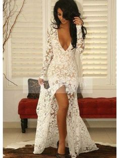 Buy 2017 Cheap Prom Dress Long Sleeve Slit Trumpet Mermaid V-Neck Lace Ivory Evening Prom Dress ItemNe0102 With Big Sale at D-daydress Company!