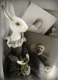 The Goode Wife of Washington County: Snowflakes, Surprises and The Wee Shoppe ©2014 Stacey Mead Annella, A rabbit  doll, done in Paper Clay. Queen Anne style.