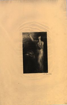 """Évocation d'Erda (1885), lithograph by Henri Fantin-Latour (1836-1904), from Act 3, Scene 1, of """"Siegfried"""" (1871), by Richard Wagner (1813-1883)."""