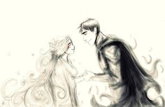 Hades and Persephone <3 after his first wife died ( she was a nymph they can die) youd think the god of death and its domain would be more evil and careless, and maybe he was but when he saw and fell for demeters daughter, he was in love. sure he didnt go about it the right way but its out of love. a force more powerful and capable than death or anything. hes still hades, but even hades has someone he loves for.