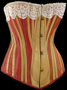 Red sateen, beige leather, and whalebone #corset, England, 1883. l Victoria and Albert Museum