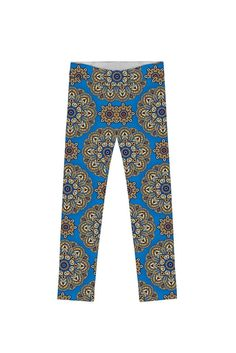 c00dc4b4070 Boho Chic Lucy Cute Blue Geometric Print Leggings - Girls