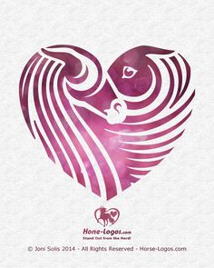 Horse art graphic of two horse heads in a heart shape. A stallion courting a mare. Both horses have a long flowing mane. Horse Clip Art, Horse Stencil, Horse Clipping, Animated Clipart, Horse Illustration, String Art Patterns, Horse Logo, Equine Art, Horse Head