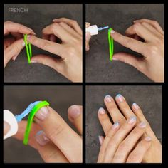 French tip nails with a rubber band