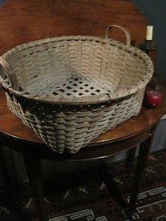 Antique 1800s RARE New England Shaker Black Ash Woven Splint Cheese Basket AAFA   eBay