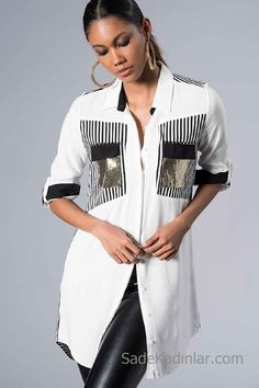 White Shirt Models Long Sleeve Front Button Sequined Pocket Detailed - White Shirt Models Long Sleeve Front Button Sequined Pocket Detailed The Effective Pictures We Offe - Look Fashion, Hijab Fashion, Fashion Outfits, Womens Fashion, Blouse Styles, Blouse Designs, Bluse Outfit, Hijab Stile, Diy Clothes