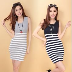2014 Women Summer Dress Pure Cotton Stripe Spell Color Stitching Slim Was Thin Package Hip High Waist Casual Dress Sexy Dress $13.73